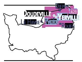 Carte de situation de la CDC Plateau de Caux Doudeville Yerville